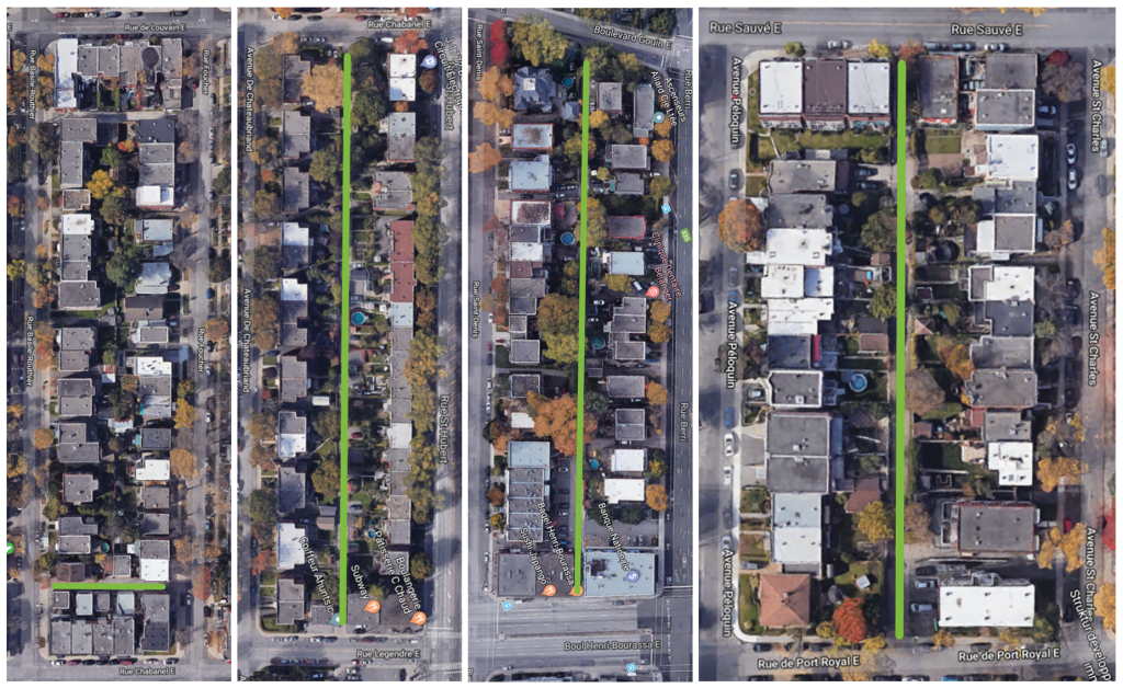 plan des 4 ruelles vertes et communautaires sélectionnées en 2019 dans Ahuntsic Cartierville