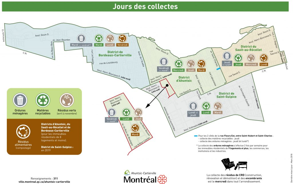 Carte collectes Ahuntsic-Cartierville