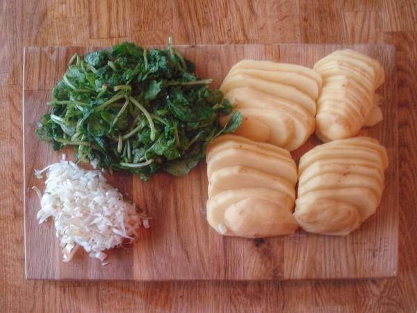 oignon, pommes de terre et fanes de radis